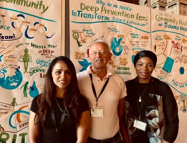 Sakira Suzia, Ian Monteague and Cllr Michelline Safi Ngongo