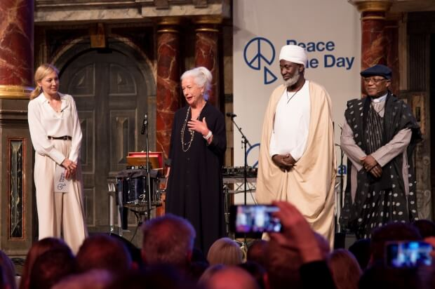 (From left to right) Juliet Rylance, Scilla Elworthy, Imam Muhammad Ashafa and Pastor James Wuye - photo by Leela Channer