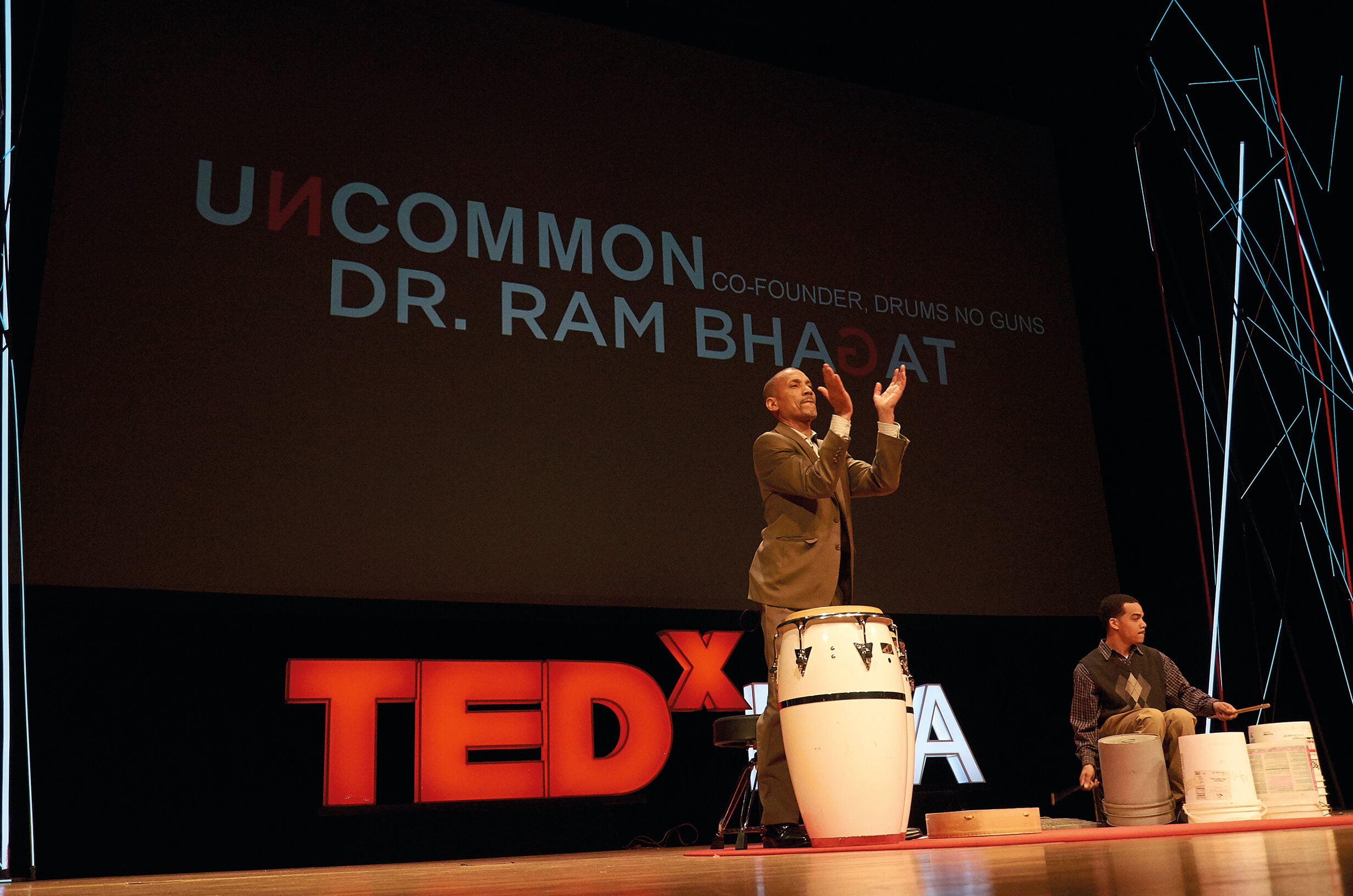 Ram Bhagat giving a TEDx talk in Richmond, Virginia, USA.
