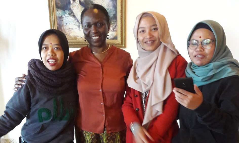 Amina Dikedi-Ajaikaye, second from left, with friends.