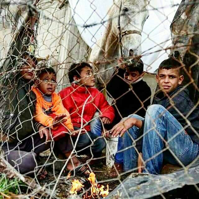 Child refugees in a camp in Gaza