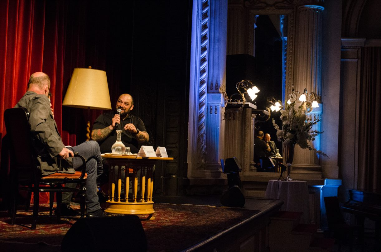 Christian Picciolini, right, speaking at Just Governance for Human Security, part of the Caux Forum in Switzerland