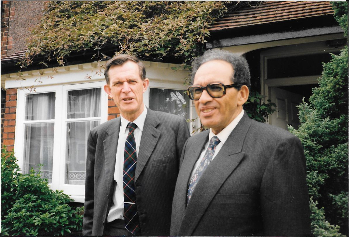 Dr Mohammed El Murtada with Peter outside his home in West London