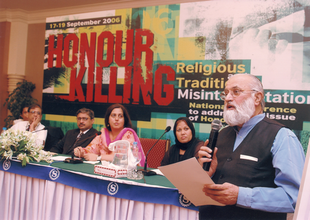 Imam Sajid addresses the 'There is no honour in honour killing' conference at the British Council in Karachi in 2006.