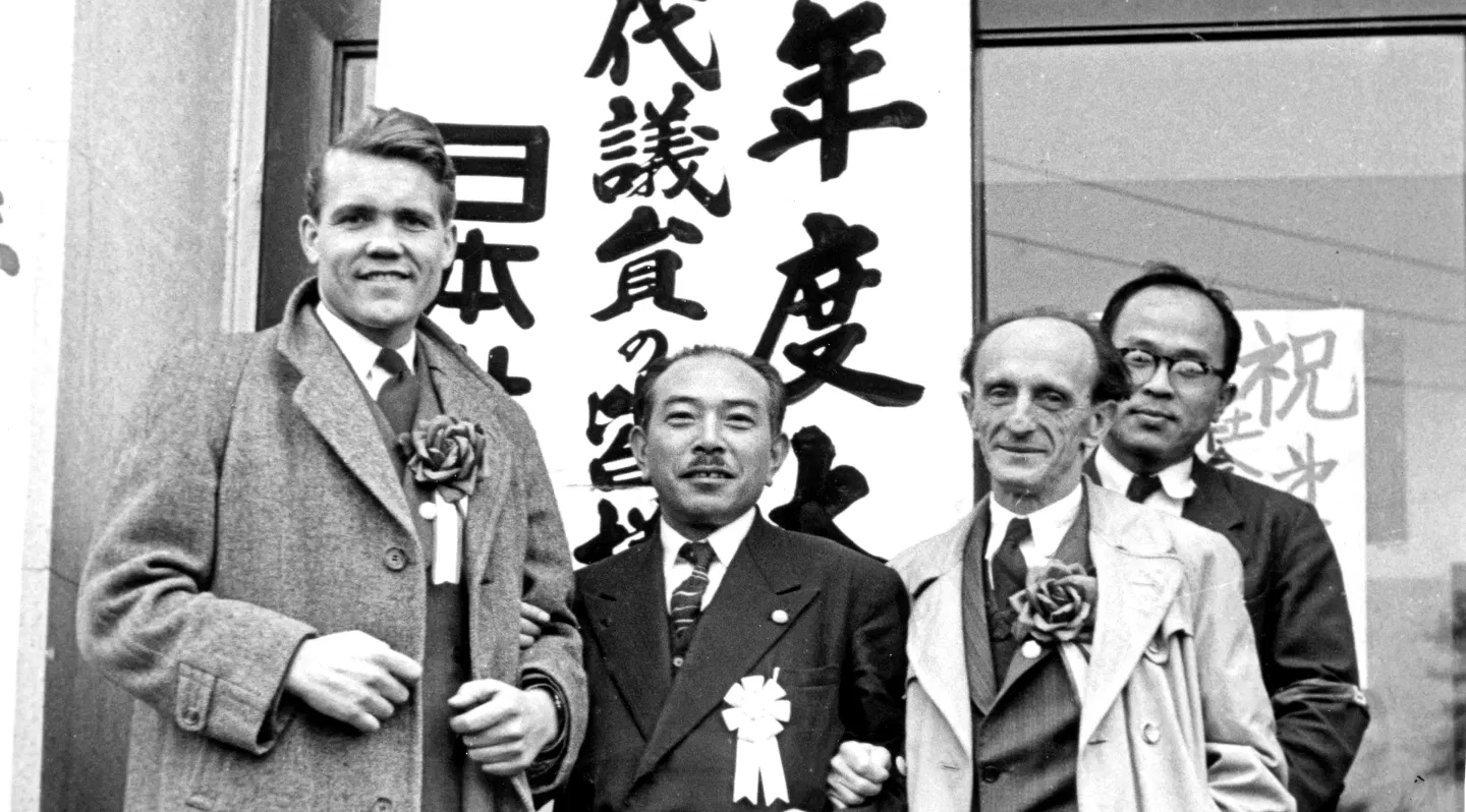 Jens Wilhelmsen (left) and Max Bladeck (2nd right) after addressing the Congress of the Japanese Socialist Party in Tokyo. Max was a miner living in Moers, northern Germany, one of the first towns to receive the cast of the play The Forgotten Factor. Jens stayed in his home during this campaign. The invitation to them to visit Japan in 1953-4 was prompted by the revolution in industrial relations that was known to have taken place in Germany, which intrigued the Japanese who were facing similar issues.
