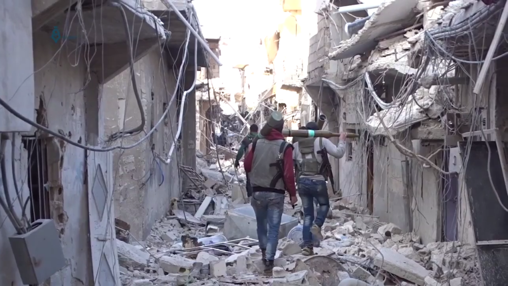 Armed Syrian rebels in the streets of Damascus 2017