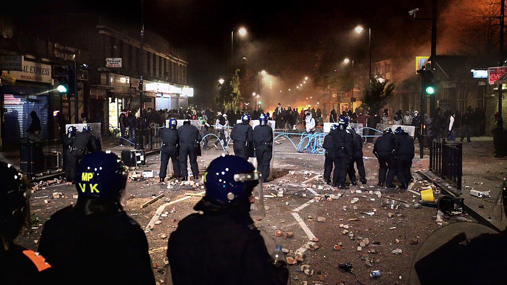 The Tottenham riots in London in 2011, where Sakira Suzia was in the front line