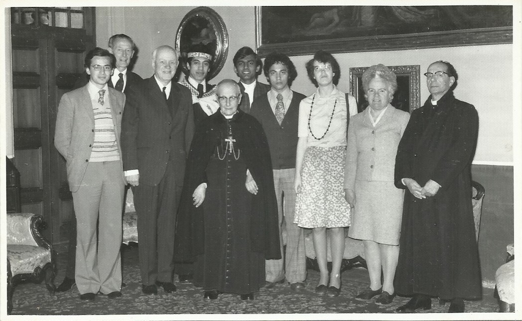Archbishop Gonzi meeting the cast of an MRA production